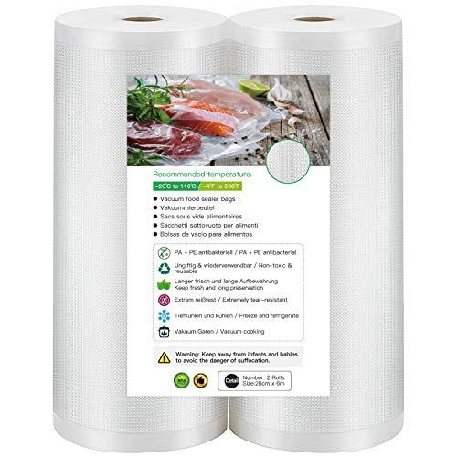 Rollos al Vacio para Envasadora al Vacìo, 2 Rollos 28 x 600cm Bolsas de Vacìo de Alimentos, Sin BPA, Bolsas de Vacio Gofradas para Conservación de Alimentos y Sous Vide Cocina & Boilable