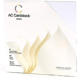 American Crafts Papier cartonné, Lot de 12x 30,5cm, Lot de 60, Blanc