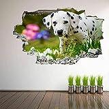 3D Wandtattoo,Hund Frühlingsblumenwanddekoration Für Schlafzimmer Wohnzimmer Wandtattookunst Diy Vinyl Abnehmbare Wandaufkleber 40X60 Cm/15.7X23.6 Zoll.