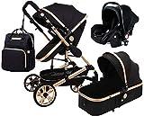 LOXZJYG 3 en 1 Cochecito Plegable carruaje de Lujo Baby Stroller Springs de absorción de Choque Vistas Altas Cochecito de bebé con Canasta de bebé y Mochila de Bolsa de Mami (Color : Negro)