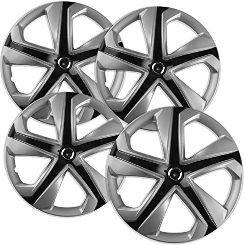16 inch Hubcaps Best for 2016-2017 Honda Civic - (Set of 4) Wheel Covers 16in Hub Caps Ice Black Rim Cover - Car Accessories for 16 inch Wheels - Snap On Hubcap, Auto Tire Replacement Exterior Cap
