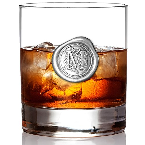English Pewter Company 11oz Old Fashioned Whiskey Rocks Glass With Monogram Initial - Unique Gifts For Men - Personalized Gifts With Your Choice of Initial (M) MON113