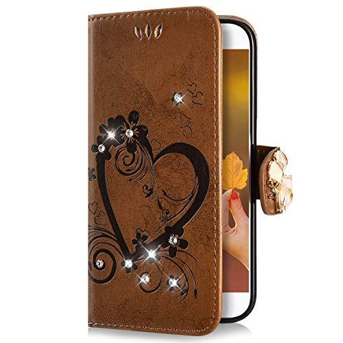 Uposao Compatibile con Huawei P30 Lite Custodia,Brillantini Portafoglio - Bling Glitter Strass Cover in Pelle Colorata Cuore Farfalla 3D Disegno Libro Antiurto Supporto Copertura Case,Marrone