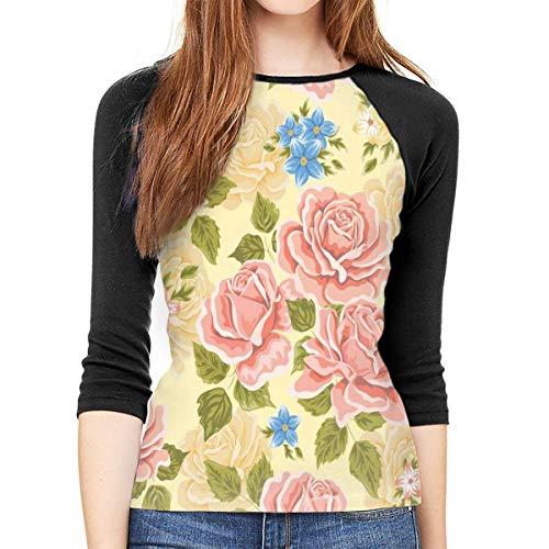 Henrnt Damen Bluse 3/4 Arm T-Shirt Bluse Top Pink Blue Flower Print T-Shirt Casual Crew Neck Tops Tee