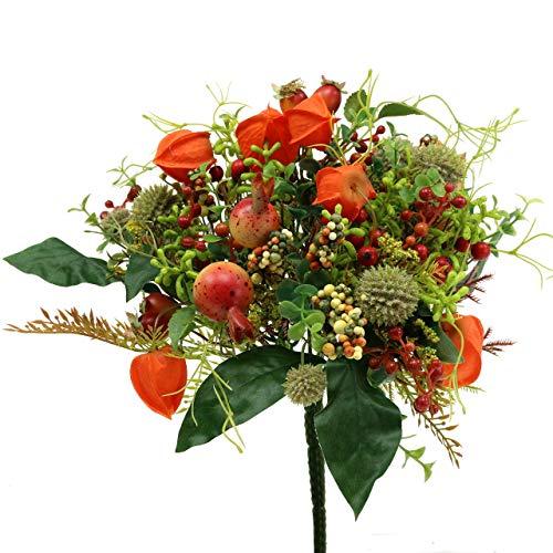 DEKO Herbststrauß mit Physalis Hagebutten Beeren Blumenstrauß für den Herbst künstlicher Dekostrauß Herbstdeko