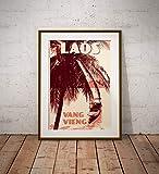 AZSTEEL Vintage Poster Laos Vang Vieng Canoe | Poster No