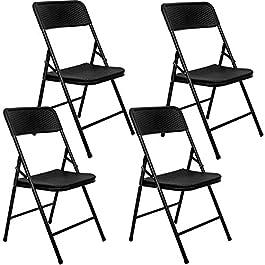 AMANKA 4 Chaises Pliantes jusqu'à 150kg – Siège de Balcon en Aspect Rotin – Chaise de Jardin Noire