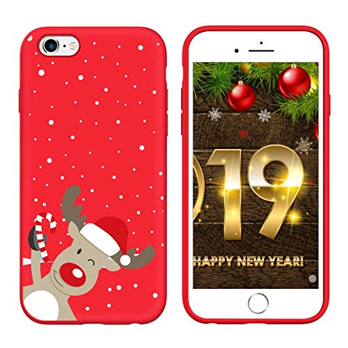 Yoedge Cover iPhone 6s / 6, Sottile Antiurto Custodia Rosso Silicone TPU con Disegni Pattern Ultra Slim 360 Protective Bumper Case per iPhone 6s / 6, Cervo Sinistro