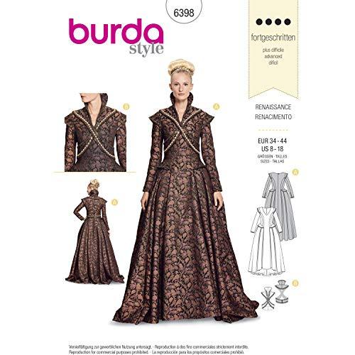 Burda 6398 Schnittmuster Renaissance-Outfit (Damen, Gr. 34-44) Level 4 fortgeschrittene
