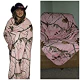 Realtree Pink Camo Throw Blanket by Carstens 54x68 RT801 Faux Suede Camo with Faux Microfur Backing - Soft and Snuggly