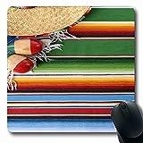 Alfrombrillas México Festival Mexicano Sombrero Serape Paja sobre La Frontera Carnaval Texturas Alfombra De Maraca Mayo 25X30Cm Alfombrilla Oblonga Goma Antideslizante Alfombrilla