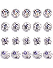 20pcs Rhinestone Mosaic Evil Eye Beads Charms Pendants for DIY Bracelet Necklace Jewelry