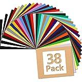 ARHIKY 38 Sheets Heat Transfer Vinyl for T-Shirts 12'x10' Iron On Vinyl HTV Bundle, 1Teflon Sheet, 30 Assorted Colors Vinyl