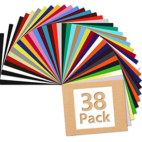 ARHIKY 38 Sheets Heat Transfer Vinyl For T-Shirts 12'x10' Iron On Vinyl HTV Bundle, 1Teflon Sheet, 30 Assorted Colors Vinyl…