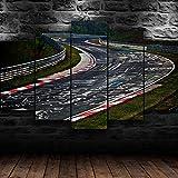 IKDBMUE Circuito de Circuito de Pista de Carreras Cuadro En Lienzo,Pintura Decoración, Cuadro Moderno En Lienzo 5 Piezas XXL,Murales Pared Hogar Decor -(Sin Marco)