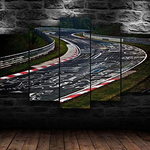 AWER 5 Piezas Cuadro sobre Lienzo Imagen Coche de circuito de Nurburgring HD Abstracta Pared Modulares Sala De Estar Impresión Artística Dormitorios Decoración De Pared Póster