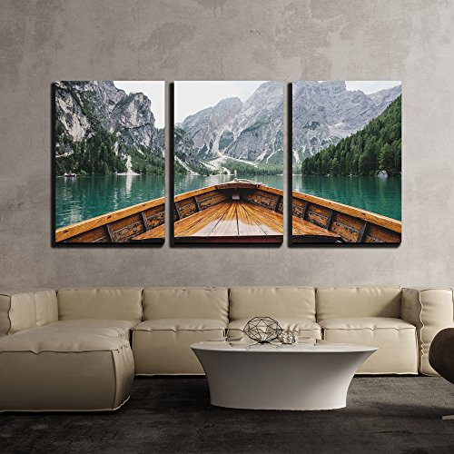 wall26 - 3 Piece Canvas Wall Art - Boat Cruising a Mountain Lake - Modern Home Art Stretched and...
