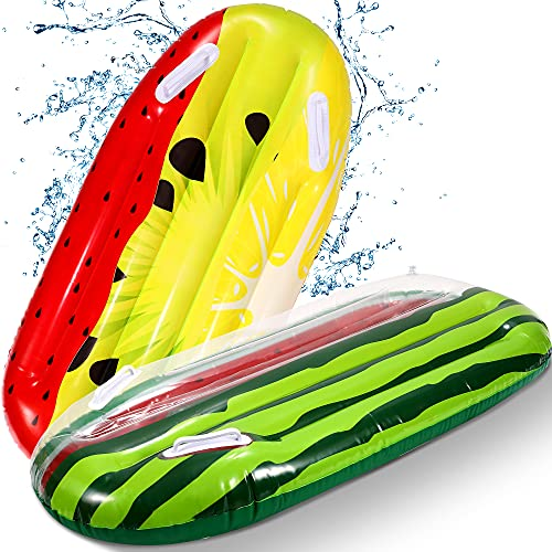 2 Pack Inflatable Boogie Board for Kids, Fun Inflatable Fruits Swim Surfboards Pool Float for Outdoor Beach Water Toys Party Supplies