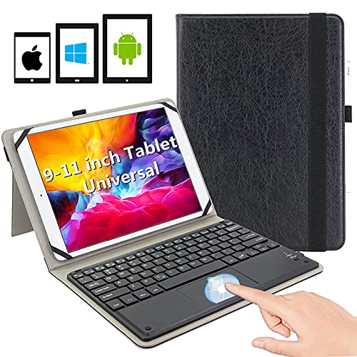9-11 inch Universal Tablet Keyboard case, Fire HD 10 Bluetooth Keyboard case,Multi-Touch Pad with Magnetic Detachable Wireless Bluetooth Keyboard, Adjustable Soft Silica-Gel Fixing Band, Black