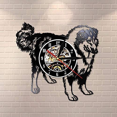 XYVXJ Reloj de Pared de Raza Schnauzer Rough Collie Club Reloj de Pared de Registro Cachorro Animal Perro Tienda de Mascotas Reloj de decoración de Pared