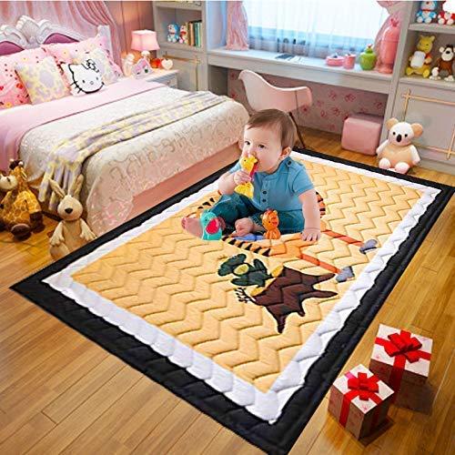 Kinderteppich Kinder Spielmatte Baumwolle rutschfeste Ungiftig Super große Spielmatte für Kinder145 cm * 195 cm * 1,5 cm Waschbar Weich Bunte
