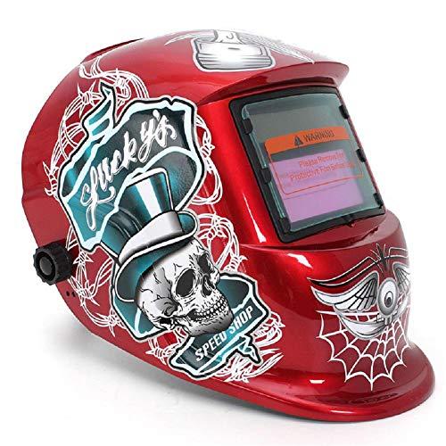 TAOTAO110 lashelm, rood standaard ontwerp zonne-lassen helm auto donker maken elektrische slijpen lassen gezicht masker lasser pet Lens Cobwebs en schedel