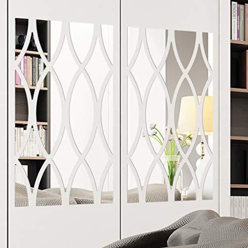 Wandaufkleber wandtattoos 3D Spiegel Geometrische Figur,18 Pcs Modern Wandtattoo Sticker Wanddeko Wandsticker Startseite Decals Tapete für Wohnzimmer Schlafzimmer Dekoration (Silber)