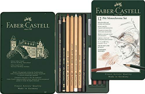 Faber-Castell 112975 - Pitt Monochrome Set im Metalletui, klein, 12-teilig