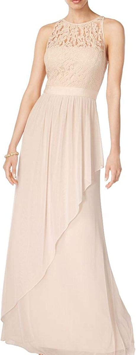ADRIANNA PAPELL Women's Lace Illusion Halter Drape Evening Gown Dress