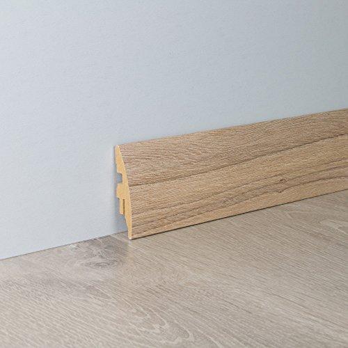 Sockelleiste Fußbodenleiste Rundprofil aus MDF in Ulme Hell mit Perlstruktur 2600 x 16 x 58 mm