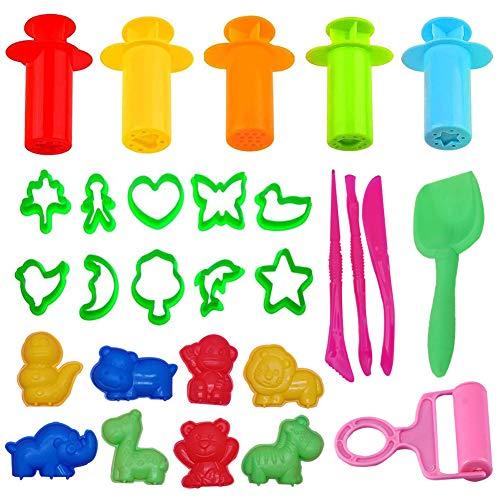 JAHEMU Herramientas de Plastilina Extrusora Arcilla Plastilina Herramientas Play Doh Accesorios de Plástico para Masa para Niños, 28 Piezas (Colores Aleatorios)