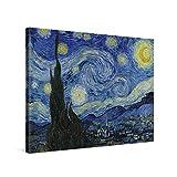 PICANOVA – Vincent Van Gogh Starry Night 80x60cm – Cuadro sobre Lienzo – Impresión En Lienzo Montado sobre Marco De Madera (2cm) – Disponible En Varios Tamaños
