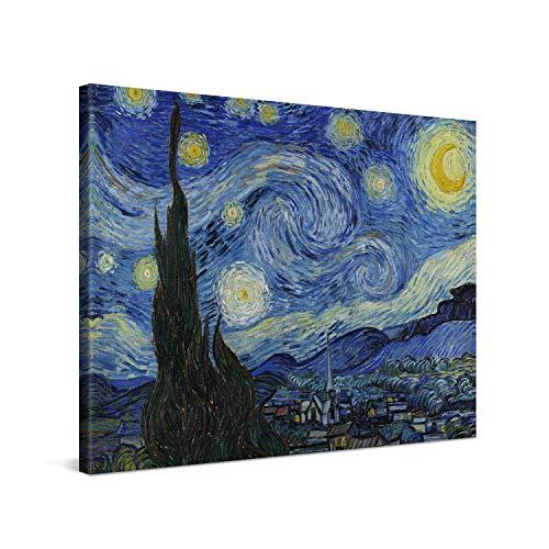 PICANOVA – Vincent Van Gogh Starry Night 100x75cm – Quadro su Tela – Stampa Incorniciata con Spessore di 2cm Altre Dimensioni Disponibili Decorazione Moderna