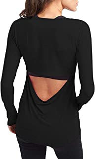 Cenglings Women's Sexy Open Back Shirts Sports Workout Clothes Backless Yoga Tank Tops Sports Blouse