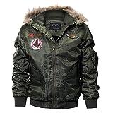 Cresay Men's Winter Hooded Thicken Fleece Military Jacket Bomber Windproof Outwear-Green-L