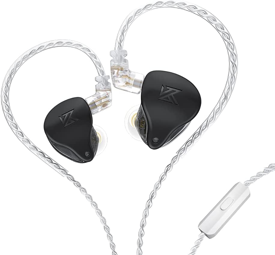 KZ-AST in-Ear Monitors, 24BA Top-Level Configuration HiFi Stereo Earphones, Lightweight Noise Isolating Stage IEM Wired Earbuds/Headphones for Musician Audiophile (with Mic, Black)