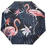 Tropical Bird Jungle Palm Leaves Flower Auto Open Umbrella Sun Rain Umbrella Anti UV Folding Compact Automatic Umbrella