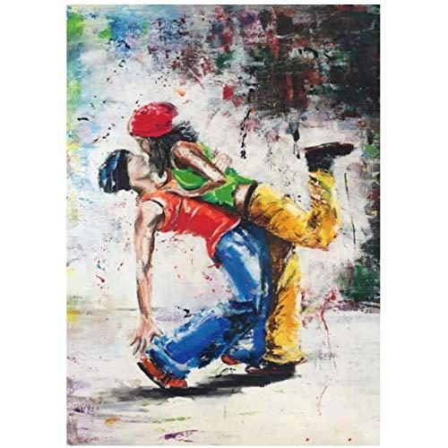 Lefgnmyi Amante del hip-hop, baile, lienzo, arte, carteles e impresiones, cuadro de pared en lienzo, pintura impresa para decoración de sala de estar, 24x32 en sin marco