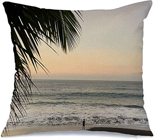 Funda de cojín Azul Playa Cielo Tropical Isla Hermoso Paisaje Personas Costa Vacaciones Naturaleza Paraíso Océano Palm Funda de Cojine 45 X 45CM