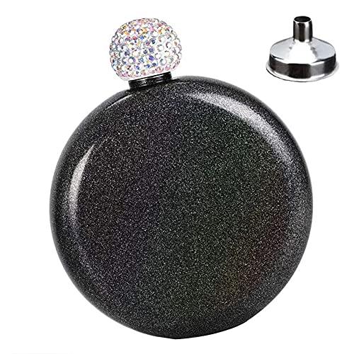 Fiaschetta da donna in acciaio inox da donna, mini boccetta da whisky glitterata, bottiglia di vino, 141,7 ml, set di utensili da cucina nero
