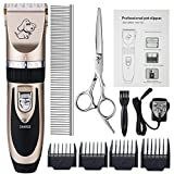 Otstar Dog Clippers, Rechargeable Cordless Dog Grooming Clipper Kit for Dogs <span class='highlight'>Cats</span> and Other Animals with Stainless Steel Comb and Scissors, Low Noise Low Vibration Dog Shaver (Black and Gold)