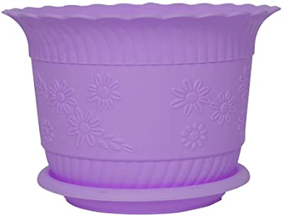 uxcell Plastic Home Office Garden Table Decor Flower Plant Pot Planter Container Holder Purple