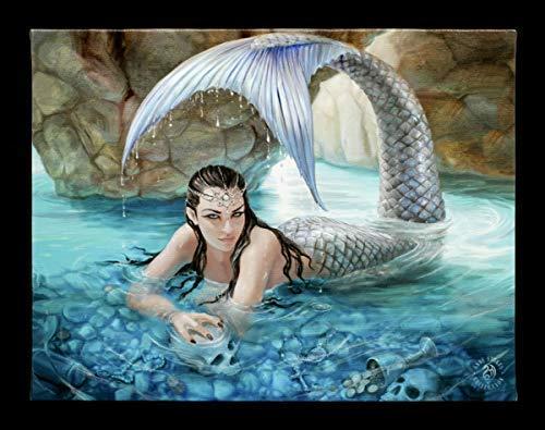 Anne Stokes Collection Fantasy-Bild mit Meerjungfrau auf Leinwand - Hidden Depths | Kunstdruck, hochwertig gedruckt, 25x19 cm