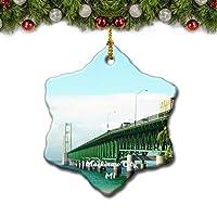 マッキノーシティブリッジミシガン米国クリスマスツリーの飾りクリスマスオーナメントトラベルギフトのお土産3インチ磁器両面