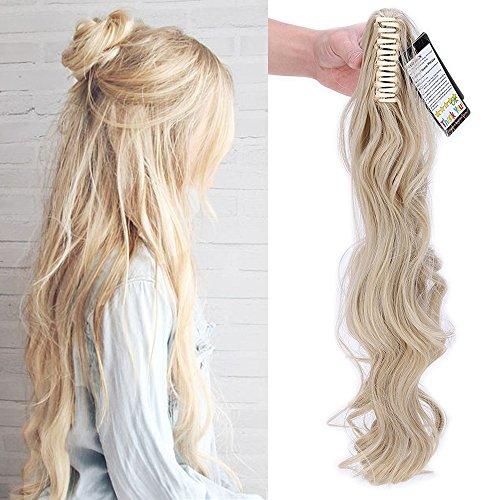 """24"""" Queue de Cheval Postiche Extension de Cheveux (Attachée par Pince/Griffe) Ondulé - Claw on Ponytail Clip in Hair Extensions - Blond cendré/Blond t"""