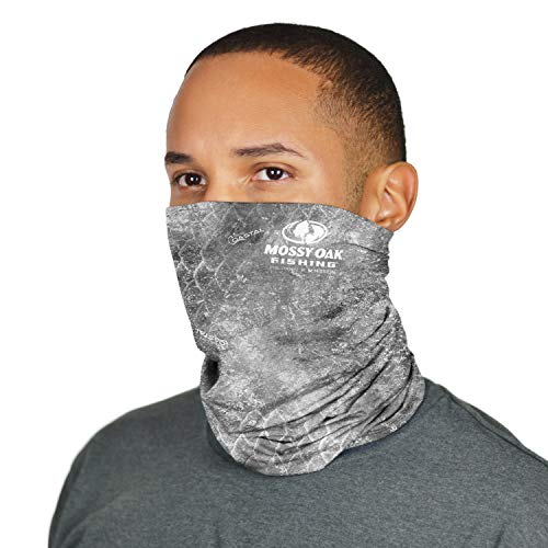 MISSION Cooling Neck Gaiter 12+ Ways to Wears, Face Mask, UPF 50, Cools When Wet- Mossy Oak Coastal Cloudbank