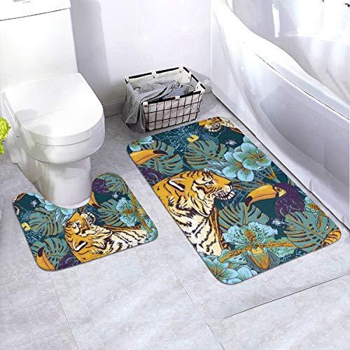N/D Tropisches Blumenmuster, nahtlos, mit Tiger, rutschfeste Bodenmatte, Badezimmermatte, rutschfeste Matte für Innendekoration, 2er-Set