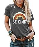 IRISGOD Womens Be Kind Tshirts Casual Short Sleeve Rainbow Inspirational Teacher Graphic Tees Tops
