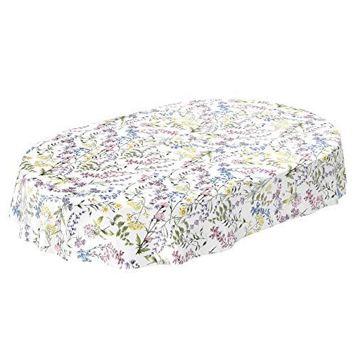 ANRO Wachstuch Tischdecke abwaschbar Wachstuchtischdecke Wachstischdecke Blumenmotiv Weiß Oval 220x140cm