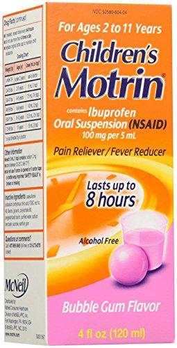 Motrin Children's Pain Reliever/Fever Reducer Liquid, Bubble Gum Flavor, 4 Fluid Ounce